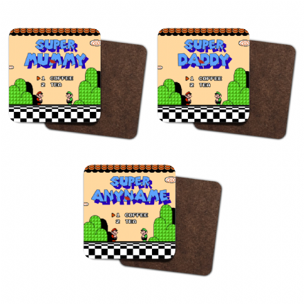 Super Mario Bros 3 Start Screen Super Mummy, Daddy or Personalised Single Hardboard Coaster.